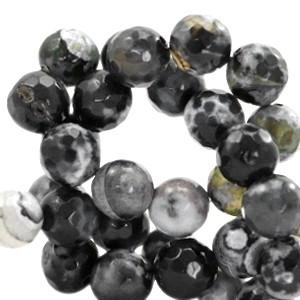 Half edelsteen kraal rond 8mm agaat facet geslepen black grey opal