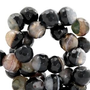 Half edelsteen kraal rond 8mm agaat facet geslepen black opal