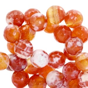 Half edelsteen kraal rond 8mm agaat facet geslepen coral red opal