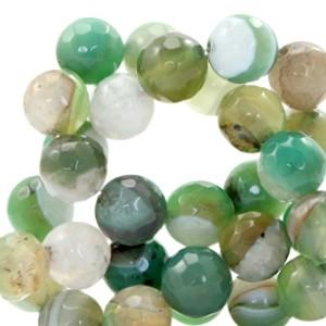 Half edelsteen kraal rond 8mm agaat facet geslepen emerald green opal