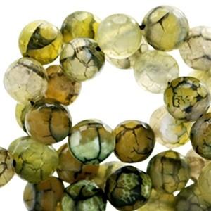 Half edelsteen kraal rond 8mm agaat facet geslepen olive green opal