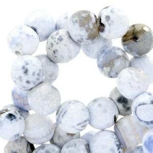 Half edelsteen kraal rond 8mm agaat facet geslepen white blue opal