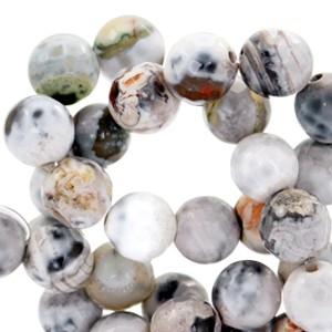 Half edelsteen kraal rond 8mm agaat facet geslepen white grey opal