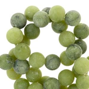 Half edelsteen kraal rond 8mm agaat mat olive green