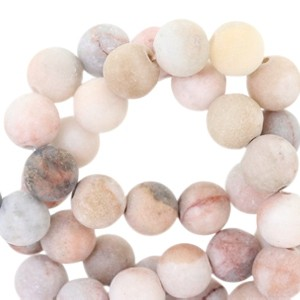 Half edelsteen kraal rond 8mm agaat mat vintage rose multicolour
