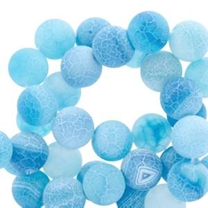 Half edelsteen kraal rond 8mm agaat sky blue