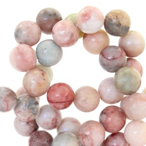 Half edelsteen kraal rond 8mm agaat vintage rose multicolour