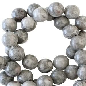 Half edelsteen kraal rond 8mm ash grey beige