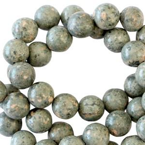 Half edelsteen kraal rond 8mm phyolite greenish grey