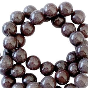 Half edelsteen kraal rond 8mm purple brown aventurine