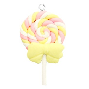Hanger fimo lolly geel roze 50x27mm