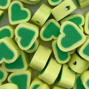 Hartjes kraal groen geel 11mm (per stuk)