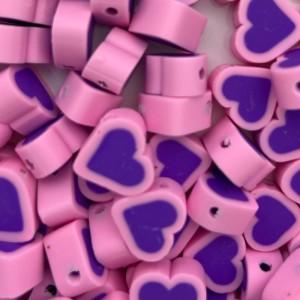 Hartjes kraal paarse roze 11mm (per stuk)