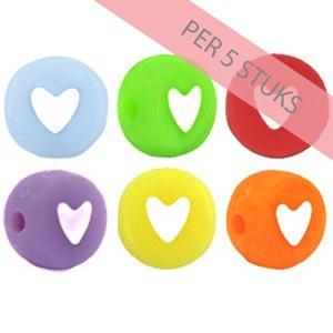 Hartjes kraal rond 7mm pastel mix (per 5 stuks)