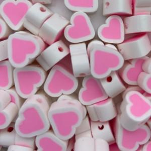 Hartjes kraal roze wit 11mm (per stuk)