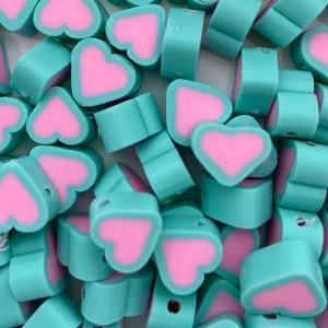 Hartjes kraal turquoise roze 11mm (per stuk)