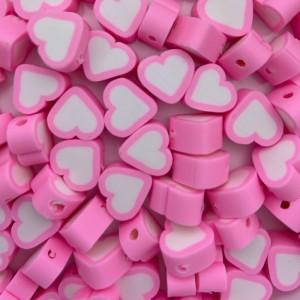 Hartjes kraal wit roze 11mm (per stuk)