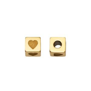 Hartjeskraal vierkant 5mm Ø2.5mm goud stainless steel (per stuk)