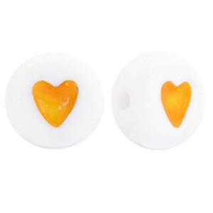 Hartjeskralen rond 7mm geel wit