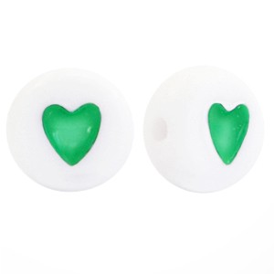 Hartjeskralen rond 7mm groen wit