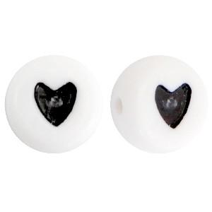 Hartjeskralen rond 7mm zwart wit