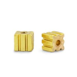 Hematite kraal cube 3mm gold
