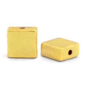 Hematite kraal flat square 4x2mm gold