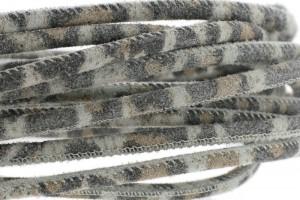 High Quality gestikt leer rond 4mm met print camouflage grijs per 20cm