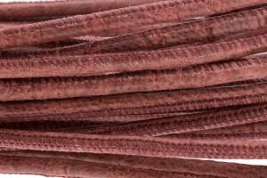 High Quality gestikt leer rond 4mm met print cocco dark old rose per 20cm