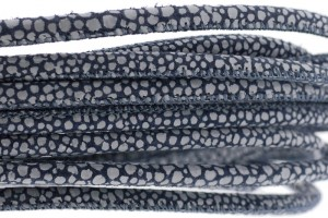 High Quality gestikt leer rond 4mm met print dots donker blauw per 20cm