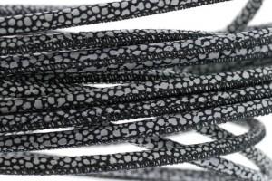 High Quality gestikt leer rond 4mm met print dots zwart per 20cm