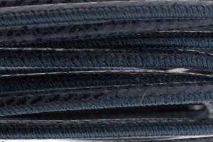 High Quality gestikt leer rond 4mm met print jeans blue per 20cm