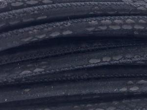 High Quality gestikt leer rond 4mm met print lizard black 2 per 20cm