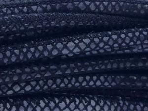 High Quality gestikt leer rond 4mm met print lizard black per 20cm