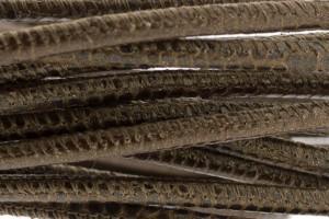 High Quality gestikt leer rond 4mm met print lizard brown per 20cm
