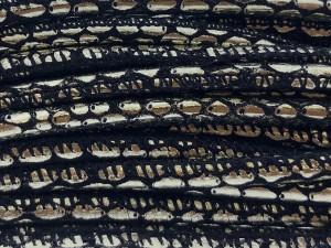 High Quality gestikt leer rond 4mm met print lizard lamina black platinum per 20cm