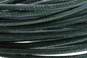 High Quality gestikt leer rond 4mm met print metallic emerald green per 20cm