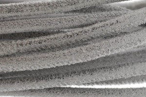 High Quality gestikt leer rond 4mm met print multidot silver per 20cm
