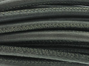 High Quality gestikt leer rond 4mm met print olive green 20cm