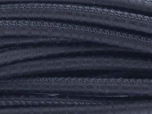 High Quality gestikt leer rond 4mm met print spyral style black per 20cm