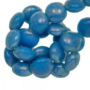 Holografische glaskraal smartie 12x7mm blue