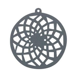 Houten hanger mandala met oog dromenvanger 54x50mm anthracite grey