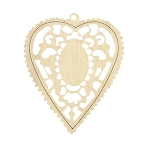 Houten hanger mandala met oog hart 60x50mm natural white wood