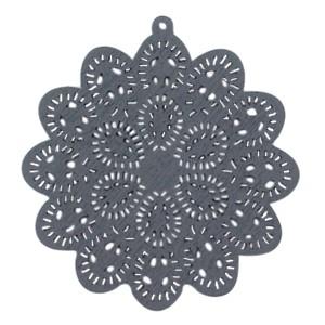 Houten hanger mandala met oog ster 60x58mm anthracite grey