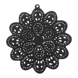 Houten hanger mandala met oog ster 60x58mm zwart