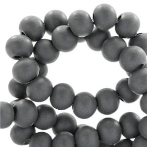 Houten kraal rond 6mm anthracite grey