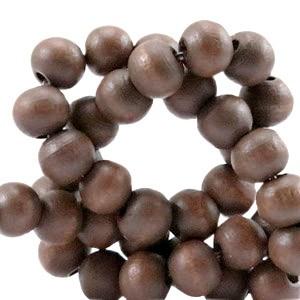 Houten kraal rond 6mm dark shade brown