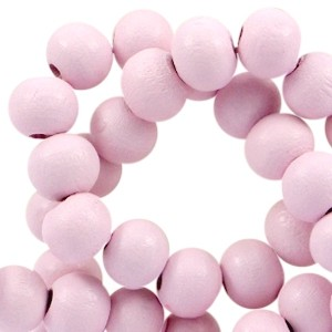 Houten kraal rond 6mm parfait pink