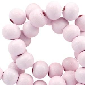 Houten kraal rond 6mm pink champagne