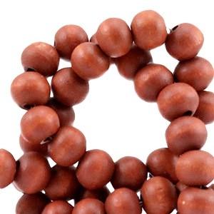 Houten kraal rond 6mm warm orange brown